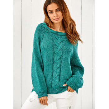 Puffed Sleeve Cable Knit Oversized Sweater