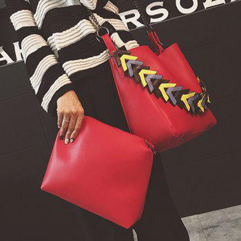 Casual Color Block Strap PU Leather Shoulder Bag