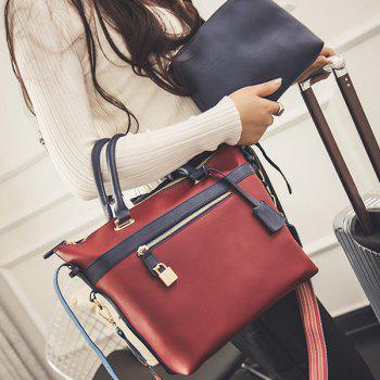 Lock Colored Strap PU Leather Tote