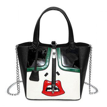 Lock Chains Lip Pattern Funny Tote