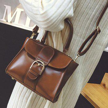 Buckle Stitching PU Leather Tote
