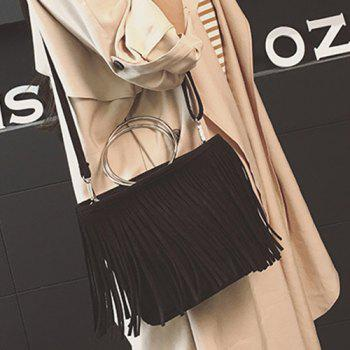 Retro Metal Ring Faux Suede Fringe Bag