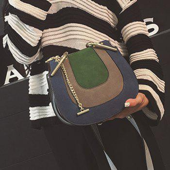 Metal Chains Color Block Crossbody Bag