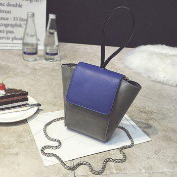 Color Block Chains PU Leather Crossbody Bag