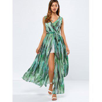 Maxi Print Chiffon Swing Wrap Boho Dress