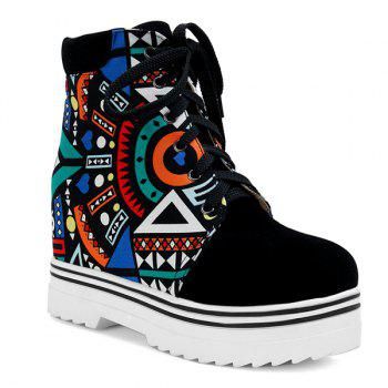 Tie Up Splicing Geometric Pattern Ankle Boots