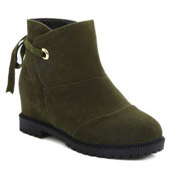 Suede Tie Up Hidden Wedge Ankle Boots