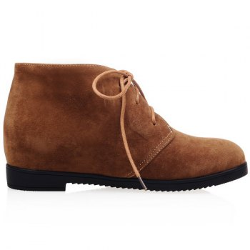 Flat Heel Tie Up Suede Ankle Boots, BROWN, 3 in Boots | DressLily.com
