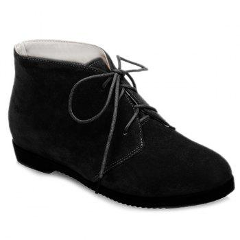 Flat Heel Tie Up Suede Ankle Boots