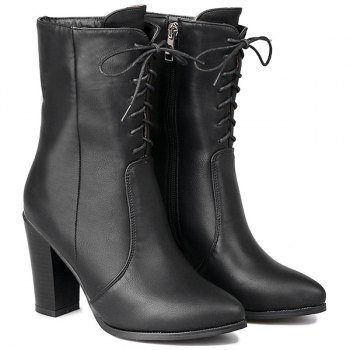 PU Leather Zip Tie Up Short Boots