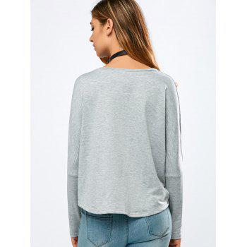 Loose Letter Print High-Low T-Shirt - GRAY GRAY