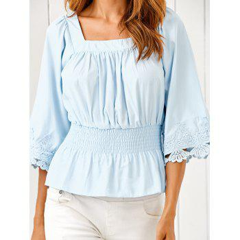 Square Neck Ruched Smock Lace Spliced Blouse