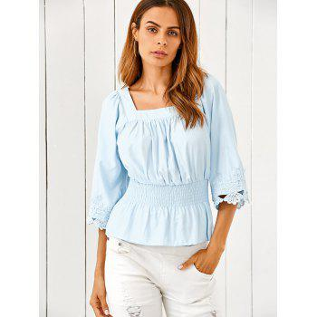 Square Neck Ruched Smock Lace Spliced Blouse - LIGHT BLUE LIGHT BLUE