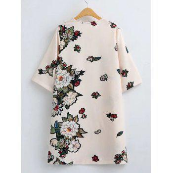 Flower Print Loose-Fitting Shift Dress - OFF WHITE OFF WHITE