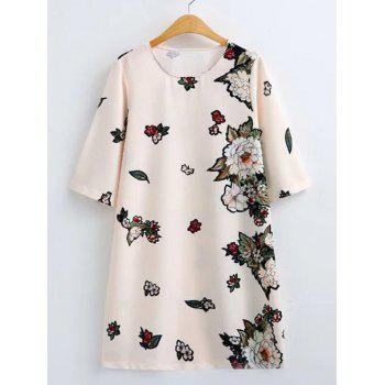 Flower Print Loose-Fitting Shift Dress - OFF-WHITE OFF WHITE