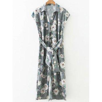 Belted Side Slit Blossom Print Shirt Dress