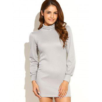 Turtleneck Ribbed Roll Neck Jumper Dress - LIGHT GRAY S