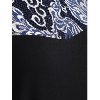 Loose Embroidered Lace Spliced Tee - BLACK BLACK