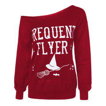 Letter Skew Neck Sweatshirt - RED RED