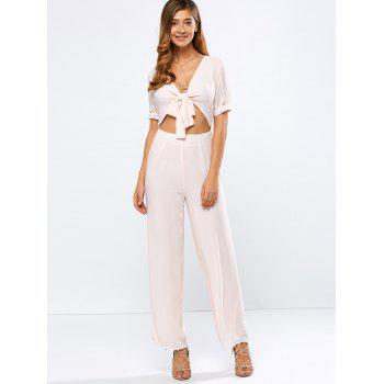 Plunging Neck Tied Cropped Wide Leg Jumpsuit
