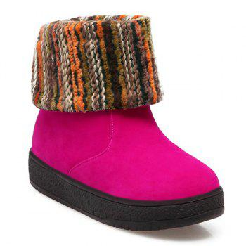 Round Toe PU Leather Knitting Snow Boots