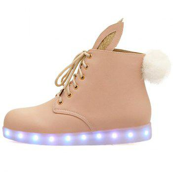 Bunny Ears Led Luminous Ankle Boots - PINKBEIGE PINKBEIGE