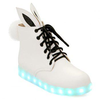 Bunny Ears Led Luminous Ankle Boots