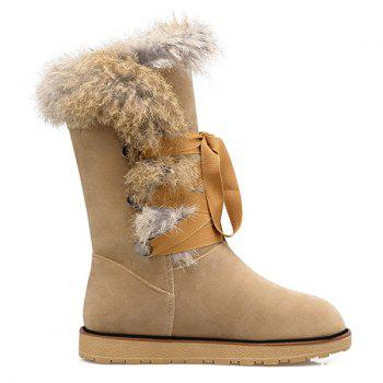 Faux Fur Lace Up Mid Calf Boots - SAND YELLOW SAND YELLOW