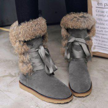 Faux Fur Lace Up Mid Calf Boots - GRAY GRAY