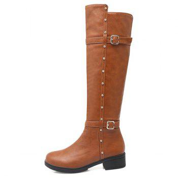 Zipper Studded Double Buckle Knee High Boots - BROWN BROWN