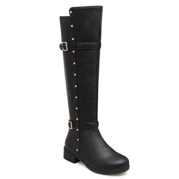 Zipper Studded Double Buckle Knee High Boots