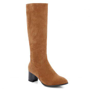 Zip Pointed Toe Suede Boots