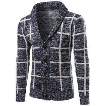 Turn-Down Collar Checked Single-Breasted Cardigan