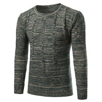Vertical Stripe Kink Crew Neck Knit Blends Sweater