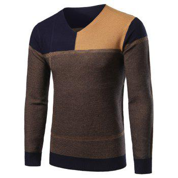 Color Block Splicing Design V-Neck Long Sleeve Sweater