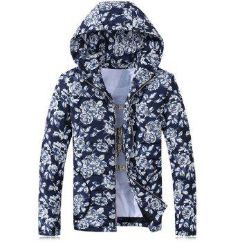 Rose Print Hooded Zip-Up Cotton-Padded Jacket