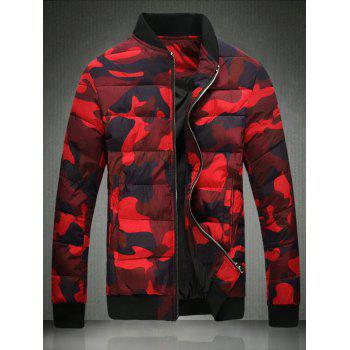 Plus Size Camouflage Stand Collar Zip-Up Cotton-Padded Jacket
