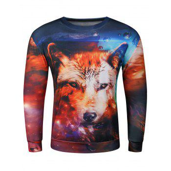 3D Wolf Starry Sky Printed Long Sleeve Crew Neck Sweatshirt