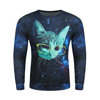 3D Starry Sky Glasses Kitten Print Sweatshirt