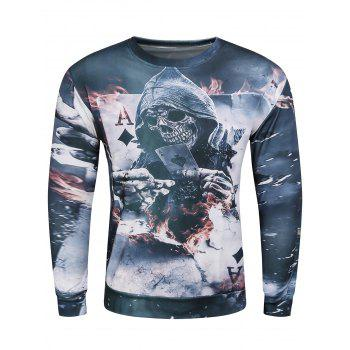 3D Devil Skeleton Poker A Printed Long Sleeve Sweatshirt