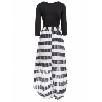 Scoop Neck T-Shirt With Striped Mesh Skirt Twinset - WHITE/BLACK WHITE/BLACK