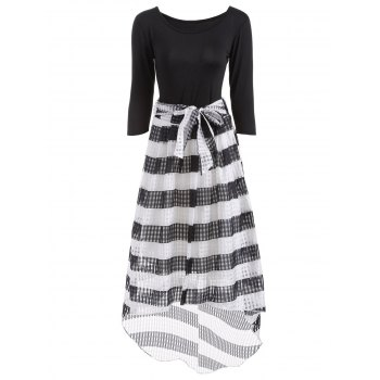 Scoop Neck T-Shirt With Striped Mesh Skirt Twinset - WHITE AND BLACK WHITE/BLACK