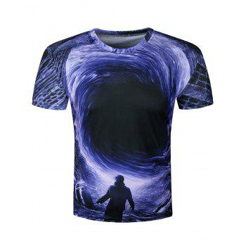 3D Disaster Eddy Hole Printed Crew Neck T-Shirt