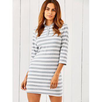 3/4 Sleeve Striped Sweater Dress