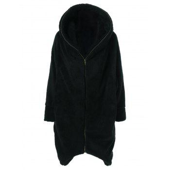 Ziper Up Fuzzy Hooded Coat