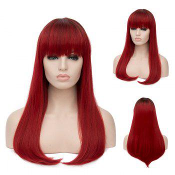 Long Neat Bang Tail Adduction Straight Ombre Synthetic Wig