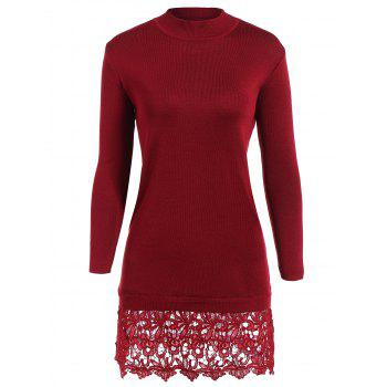 Lacework Splicing Long Sleeve Sweater Dress
