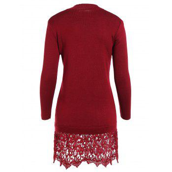 Lacework Splicing Long Sleeve Sweater Dress - WINE RED ONE SIZE