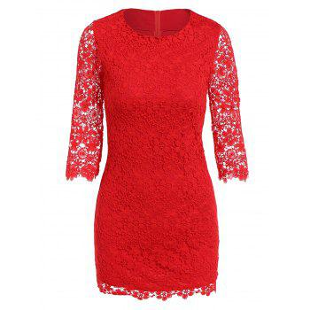 3/4 Sleeve Mini Lace Dress