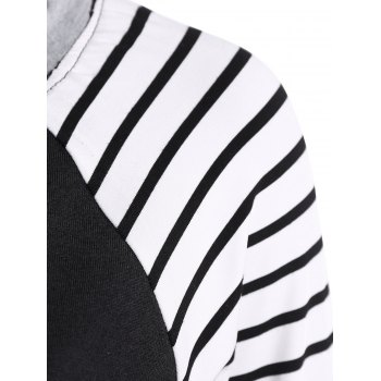 Crew Neck Striped Tee - BLACK XL